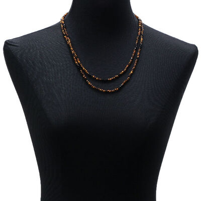 "Lisa Bridge Tiger's Eye & Black Onyx Beaded Necklace, 46"""