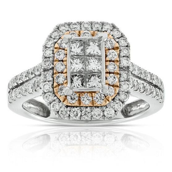 Double Halo Diamond Ring 14K
