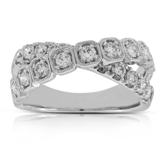 Diamond Crossover Band 14K