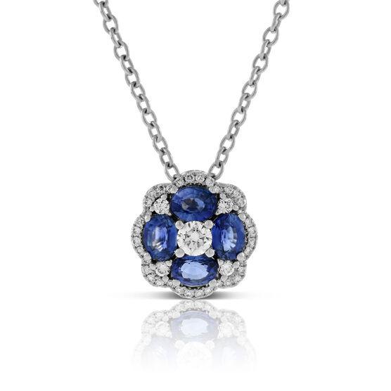 Floral Sapphire & Diamond Pendant 14K