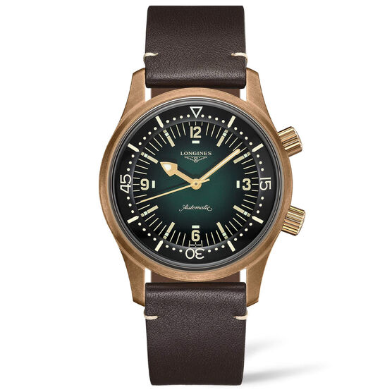 Longines Legend Diver Green Bronze Leather Automatic Watch, 42mm