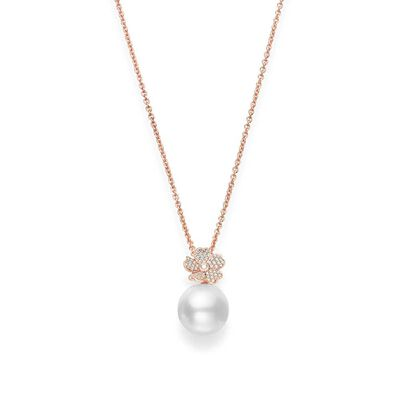 Rose Gold Mikimoto White South Sea Cultured Pearl & Diamond Cherry Blossom Necklace 18K