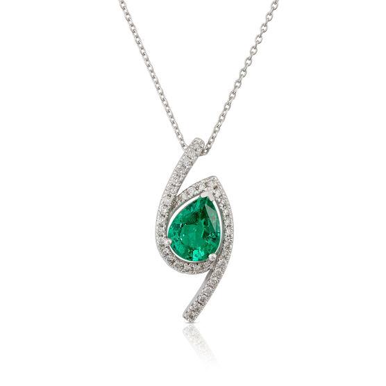 Tilted Pear Emerald & Diamond Halo Necklace 14K