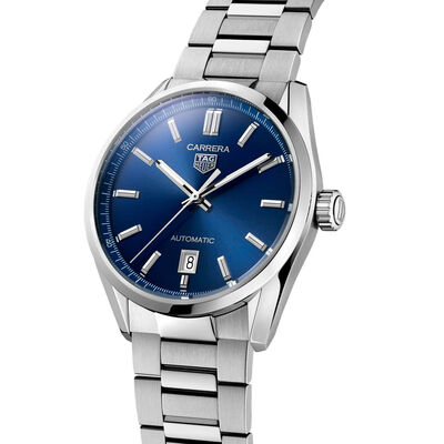 TAG Heuer Carrera Calibre 5 Auto Blue Steel Watch, 39mm