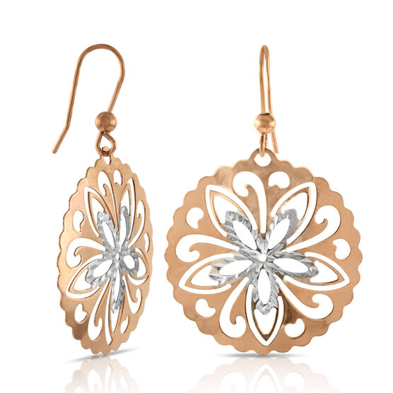 Rose Gold Cut-Out Disc Earrings 14K