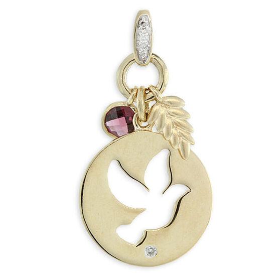 Garnet & Diamond Dove Pendant / Charm 14K