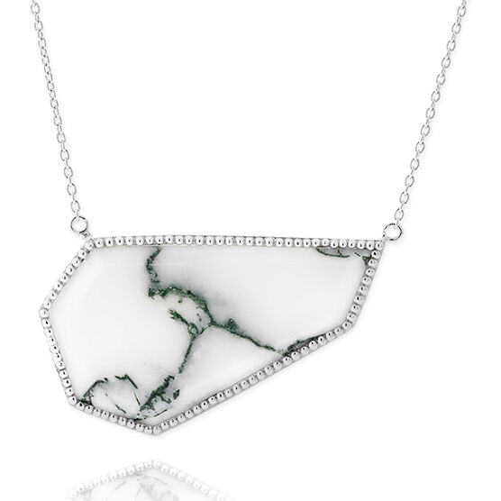 Lisa Bridge Angular Moss Agate Necklace in Silver