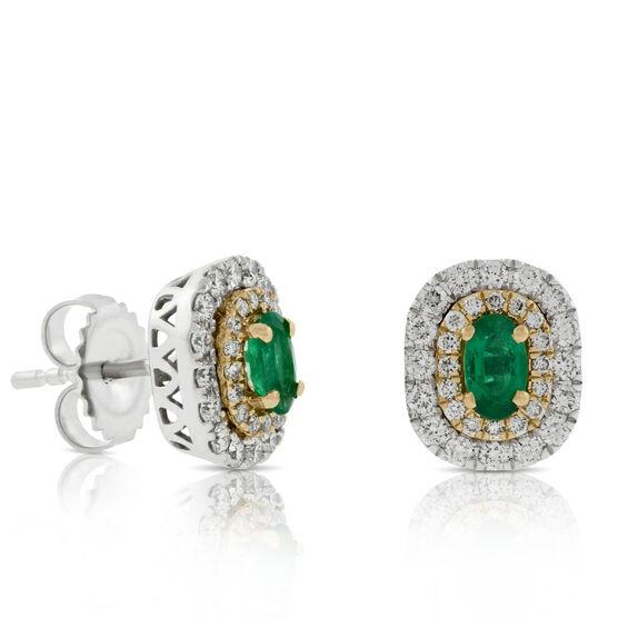 Double Halo Emerald & Diamond Earrings 14K