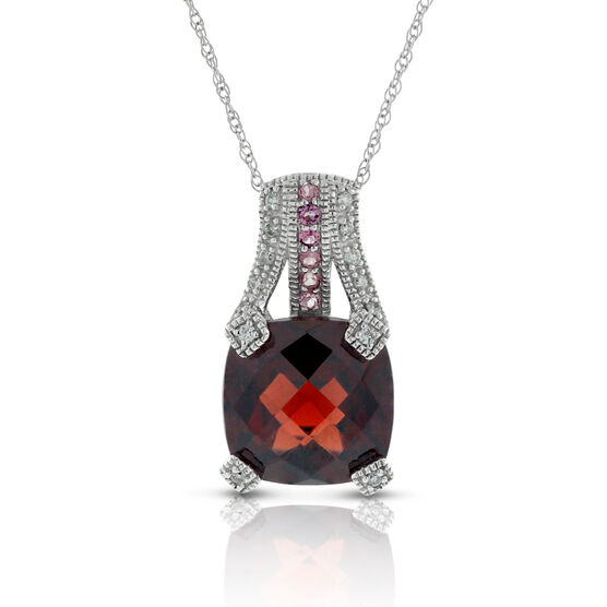 Garnet, Tourmaline & Diamond Pendant 14K