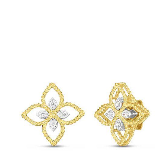 Roberto Coin Principessa Small Diamond Flower Earrings 18K