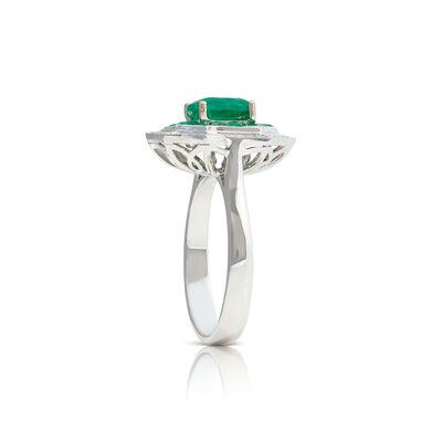 Square & Baguette Emerald & Diamond Halo Ring 14K