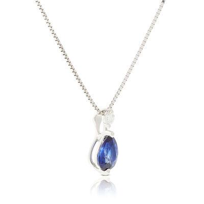 Pear Sapphire & Diamond Necklace 14K
