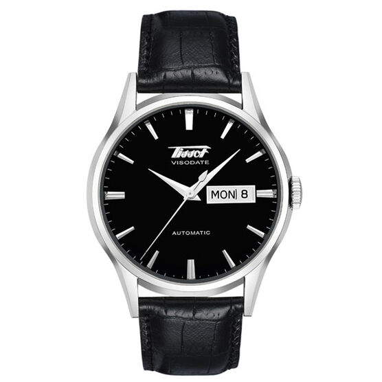 Tissot Heritage Visodate Automatic Black Dial Leather Watch, 40mm