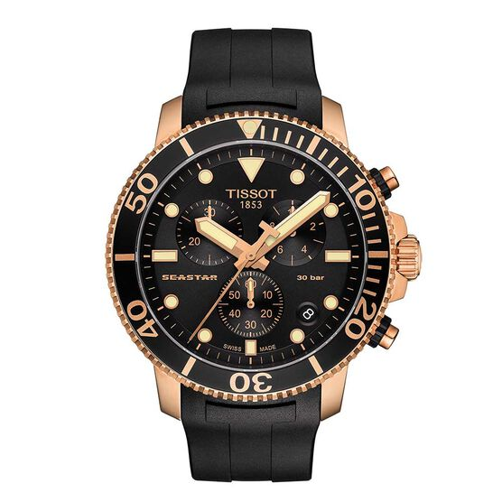 Tissot Seastar 1000 Rubber Strap Rose PVD Chronograph Watch, 45mm