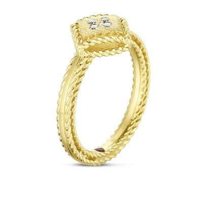 Roberto Coin Palazzo Ducale Single Square Diamond Ring 18K, Size 6.5