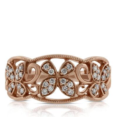 Rose Gold Butterfly Diamond Band 14K
