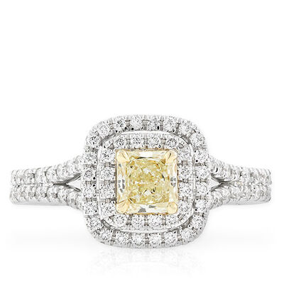Radiant Cut Yellow Diamond Halo Ring .42 Ct.