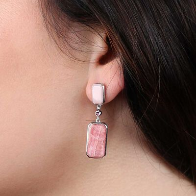 Lisa Bridge Rhodochrosite, Opal & Tourmaline Earrings