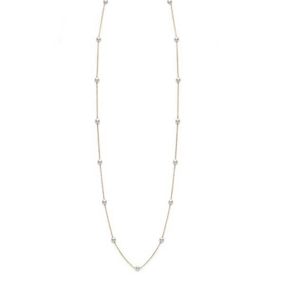 """Mikimoto Akoya Cultured Pearl Station Necklace 18K, 32"""""""