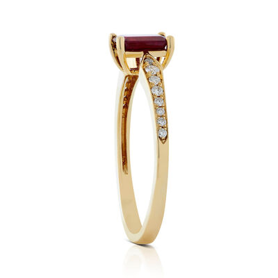 Emerald Cut Ruby & Diamond Ring 14K