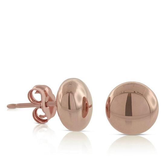 Rose Gold Stud Earring 14K, 8mm
