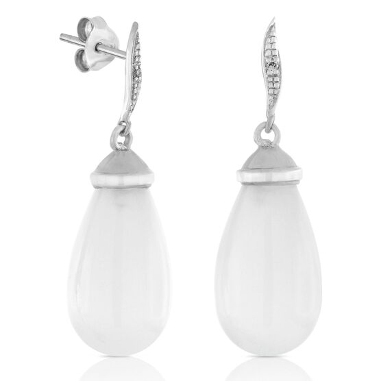 Moonstone & Diamond Drop Earrings 14K