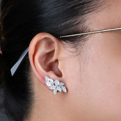 Diamond Cluster Petal Earrings 14K