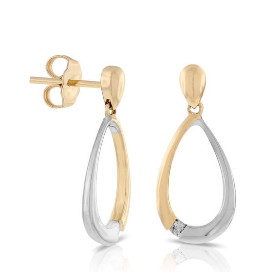 Two-Tone Diamond Open Pear Dangle Earrings 14K