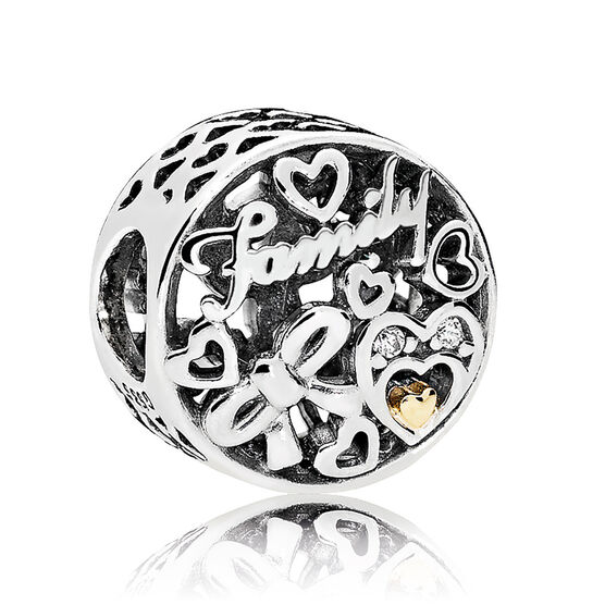 Pandora CZ Family Tribute Charm, Silver & 14K