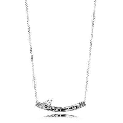 PANDORA Spring Bird Curved Bar Necklace