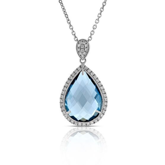 Pear Blue Topaz & Diamond Pendant 14K