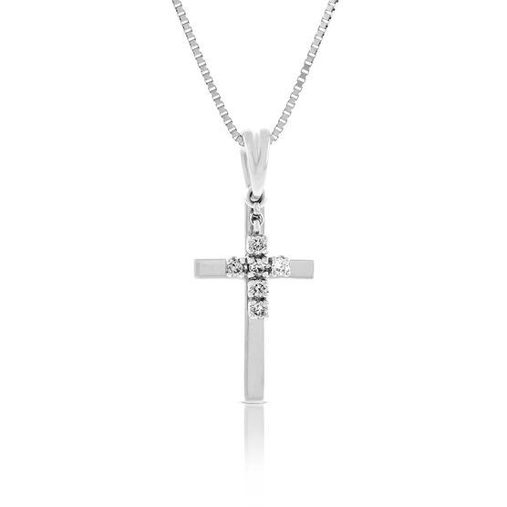 Diamond Double Cross Pendant 14K