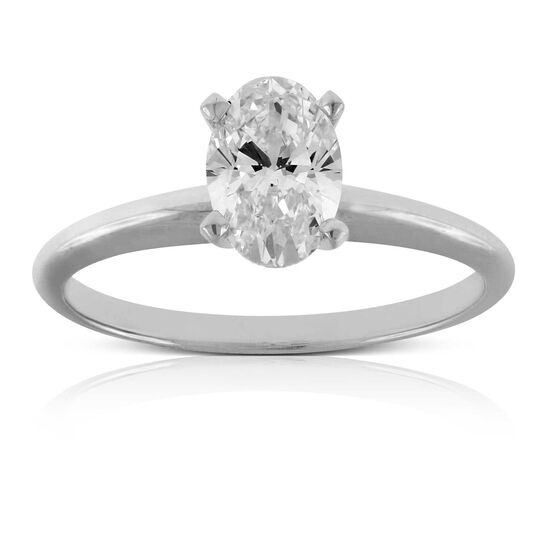 Oval Cut Diamond Solitaire Ring 14K, 1 ct.