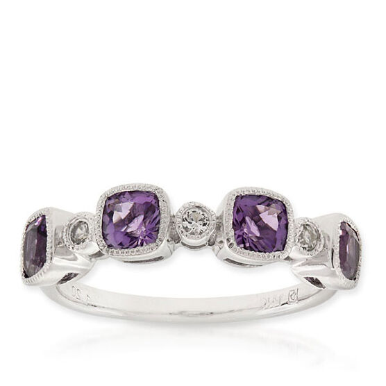 Amethyst & Sapphire Ring 14K