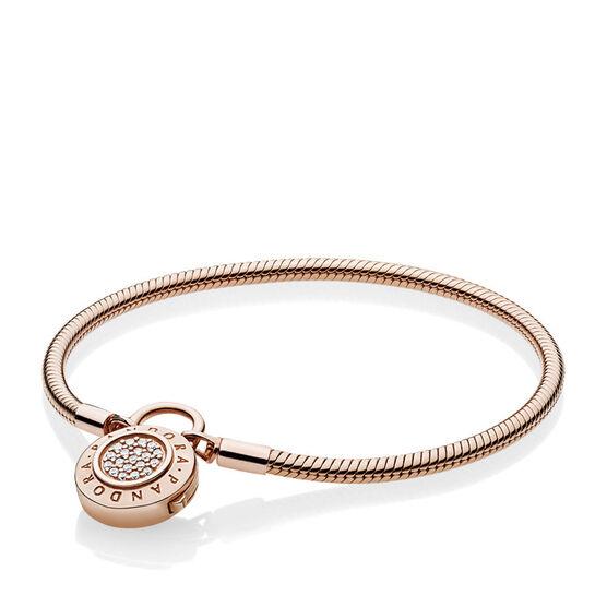 Smooth Pandora Rose™ Bracelet, Signature CZ Detachable Padlock