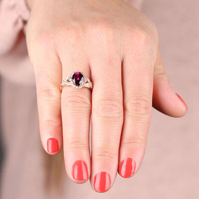 Rose Gold Purple Garnet & Diamond Ring 14K