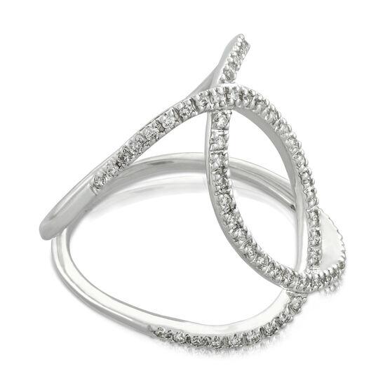 Diamond Crossover Ring 14K, Size 7