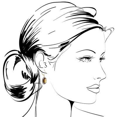 Brown Quartz & Diamond Dangle Earrings 14K