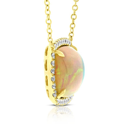 Cabochon Opal & Diamond Halo Necklace 14K