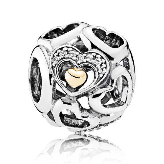 PANDORA Heart of Romance CZ Charm, Silver & 14K