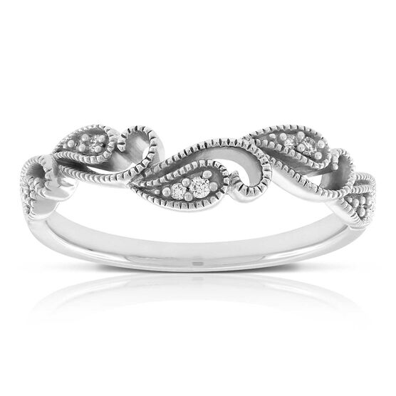 Floral Diamond Contour Band 14K