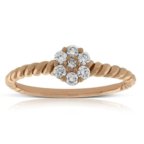 Rose Gold Cluster Diamond Ring 14K