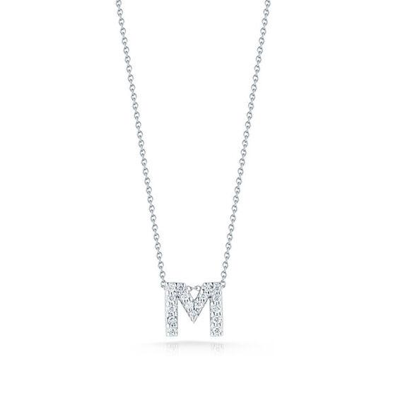 Roberto Coin Tiny Treasures Diamond Initial Pendant 18K Letter 'M'