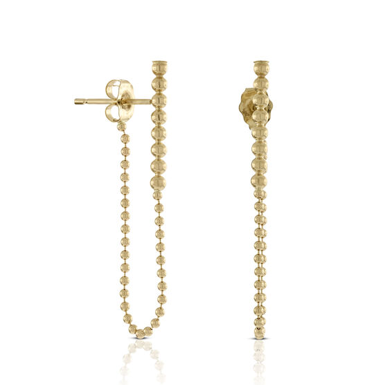 Bubble Stick & Chain Dangle Earrings 14K