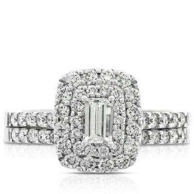 Double Halo Diamond Bridal Set 14K