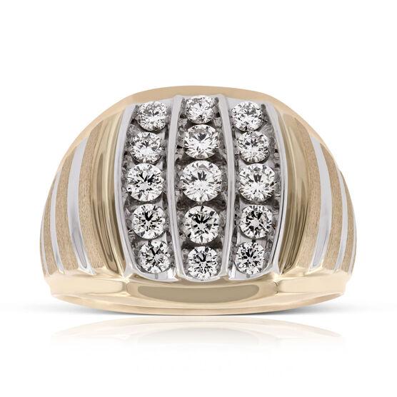 Men's Bold Three Row Diamond Ring 14K