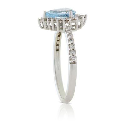 Pear Aquamarine & Diamond Halo Necklace 14K