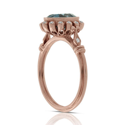 Rose Gold Blue Topaz & Diamond Halo Ring 14K