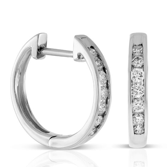 Diamond Hoop Earrings 14K, 1/4 ctw.