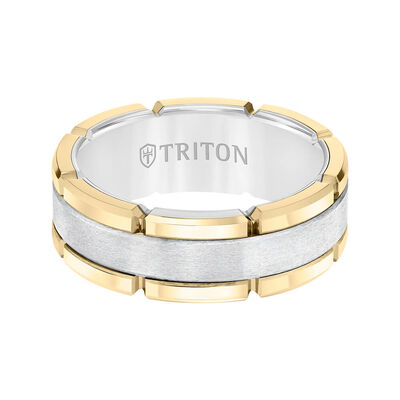 TRITON Contemporary Comfort Fit Brush Finish Yellow Link Edge Band in White Tungsten, 8 mm